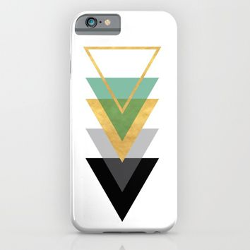 FIVE GEOMETRIC ABSTRACT HOLLOW PYRAMIDS TRIANGLE iPhone & iPod Case by deificus Art