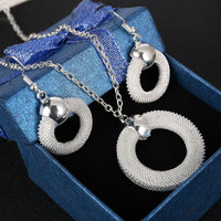 Fashion Round Ring Shape Choker Necklace Chunky Statement Chain Necklace Earrings Silver Plated Jewelry Sets For Women Giftd