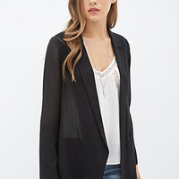 LOVE 21 Chiffon-Paneled Blazer Black