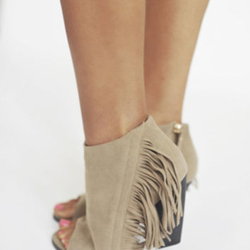 Peep Toe Fringe Booties