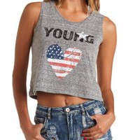 Americana Graphic Swing Crop Top - Med. Gray Heather