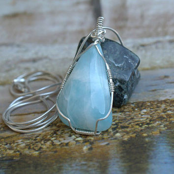 Large gemstone genuine Larimar free form pendant silver wire wrapped with necklace