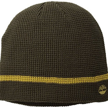 Timberland Men's Waffle Knit Beanie, Dark Earth, One Size