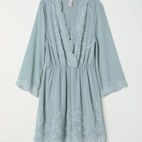 Embroidered dress - Dusky green - Ladies | H&M GB
