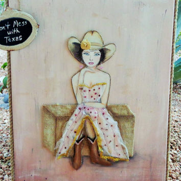 Cowgirl Artwork Original Mixed Media Painting, Brown Hair, Bkue Eyes, Western Wall Decor 16X20 inches.
