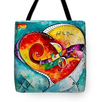 Musical Pop Art Original Heart Painting Contemporary Abstract Music Artwork By Madart Tote Bag