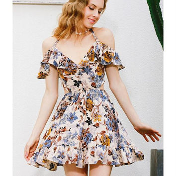 Fashion Hollow Multicolor Flower Print V-Neck Backless Short Sleeve Frills Mini Dress