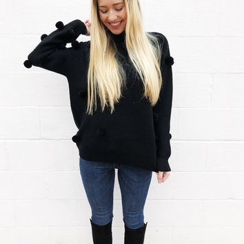 Pom-tastic Sweater - Black