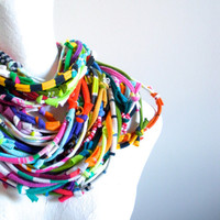 Technicolor Infinity Art Scarf Bright Colors Tribal Gypsy Cowl Scarf Upcycled Clothing Spring Fashion Multicolor Knotty Bits Scarf