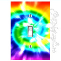 Tie Dye Decal Light Switch Cover Love 70s Peace Girls Room Sticker Wall Art  LS8