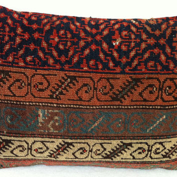 Hand Woven Turkish Old Rug Pillow - Modern Bohemian Home Decor - Decorative Pillow - Kilim  Pillow  21 x 16 Inch - FAST SHIPMENT