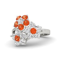 Palladium Ring with White Sapphire & Fire Opal