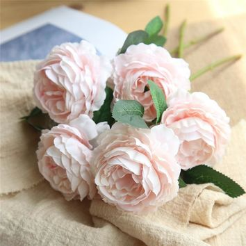 Heads European Style Fake Artificial Peony Silk Decorative Party Flowers For Home Hotel Wedding Office Garden Decor  L3