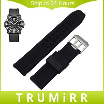 22mm 23mm Silicone Rubber Watchband +Tool for Luminox Land Sea Air Space Watch Band Sport Diving Strap Soft Wrist Bracelet Black