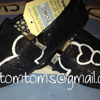 Mickey & Minnie Mouse Silhouette Disney Custom TOMS Shoes on Black Glitter