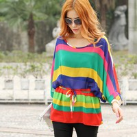 Multicolored Dynamic Long Dolman Sleeve Asymmetrical Hem Oversize Blouse Top