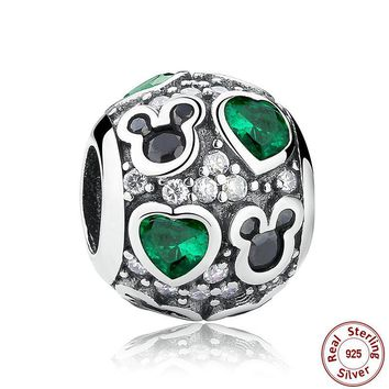 Sterling Silver Mickey Heart Charms for Pandora Bracelets & Bangles