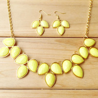 Yellow Teardrop Bib Necklace Earring Set,Fashion Statement Girls Necklace, Necklace for 2014 Summer