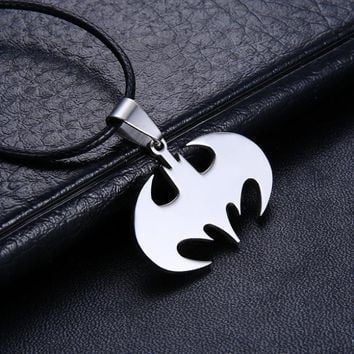 Batman silver logo necklace