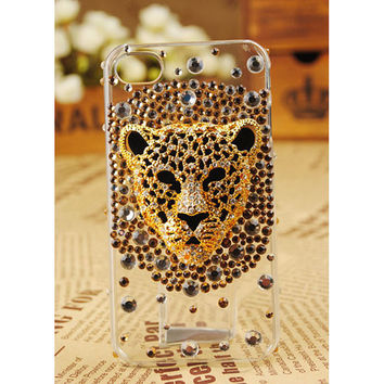 FREE SHIPPING Apple iPhone 5 4S 4G 3GS Leopard Face Artificial Swarovski Bling Crystal Girly Clear Case Cover