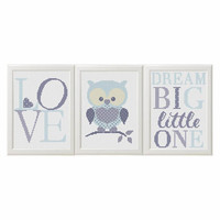 blue and gray Baby boy cross stitch pattern pdf Owl nursery animals set of 3 Dream Big Little One Modern Cross stitch Animals Pattern Birds