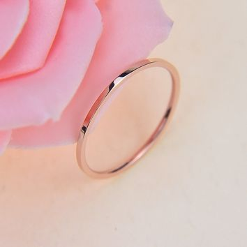 Women Men Small Titanium Ring Smooth Simple Rose Gold Lovers Ring Jewelry Gift Girl Z0125