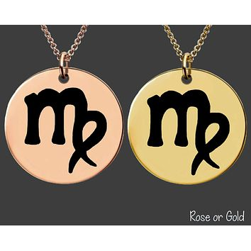 Virgo Necklace | Rose Gold or Gold Zodiac Necklace