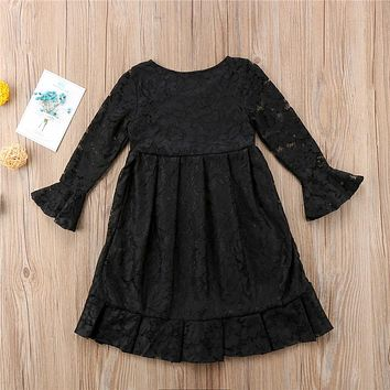 Newest Kids Girls Princess Dresses  Lace Floral Flare Sleeve Wedding Dress Cute Child Party Formal Dress