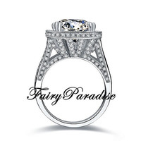 Art Deco 8 Ct Cushion Cut man made Diamond Halo Crown Setting Statement Cocktail Ring with gift box- made to order