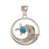 SOLID 925 STERLING SILVER OPAL HAWAIIAN OCEAN WAVE HONU TURTLE PENDANT 19.50MM
