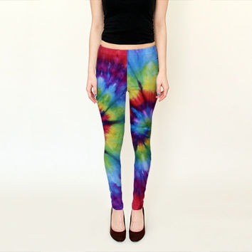 Tie Dye Leggings-Women's Leggings-Capri Leggings-Colorful Rainbow Spiral Tie Dye Leggings-Small Medium Large