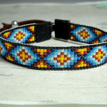 Loom Beaded Bracelet - Indian Bead Loom Bracelet - Adjustable Loom Bracelet