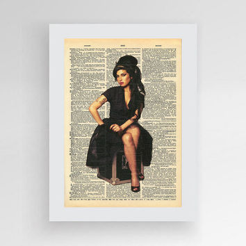 Amy Winehouse art, Amy Winehouse Print, Minimalist Portrait Art, Music Print, Amy Winehouse Art Print,  Vintage Dictionary Print, Gift