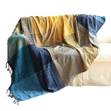 Cotton Woven Couch Throw Blanket, Comfortable Throw Blanket on Sofa/Armchair