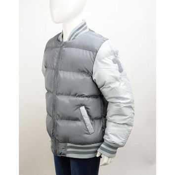 Boys Grey/Grey Bubble Varsity Jackets Size 4-7