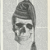 Book Print Skull with Warm Winter Hat on Upcycle Vintage Book Print Art Print Dictionary Print Collage Print