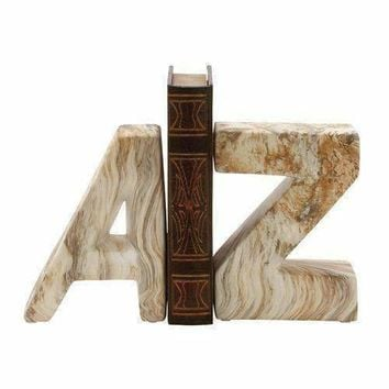 "Attractive Ceramic Marble Finish Bookend Pair 6""W 8""H"