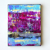 Small Abstract Art - Textured painting in Purple and blue on 8x10 canvas