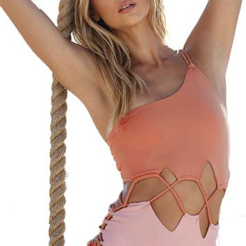 Lace-up Two Tone One Shoulder Swimsuit
