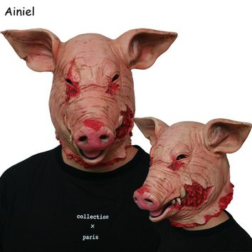 Horror PigHead Mask Full Head Face Horror Mask Latex Halloween Scary Horror Mask Adult Fancy Terror Masks for Men Cosplay Prop