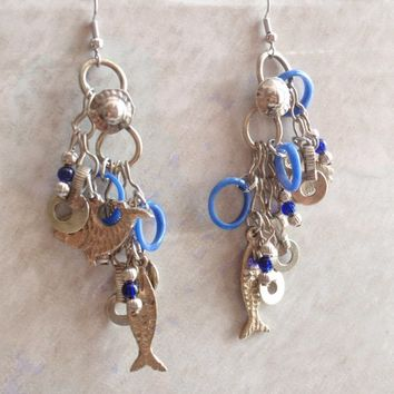 Long Fish Earrings Pierced Drop Blue and Silver Tone Made in India Vintage