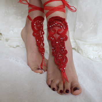 Red Lace Barefoot Sandals,Wedding Sandals,Bridal Anklet,Beach Wedding,Bridal Shoes,Red Lace Shoes