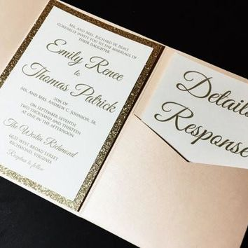 Glitter Wedding Invitation, Blush and Gold Elegant Pocketfold Wedding Invitation - EMILY VERSION