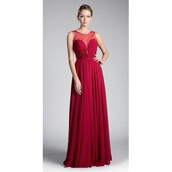 Long A-Line Chiffon Dress Burgundy Illusion Neckline And Open V-Back