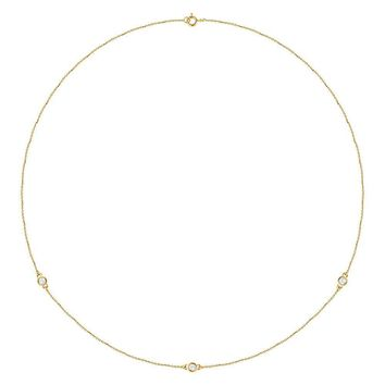 "14K Yellow 1-4 CTW Diamond Bezel 18"" Necklace"