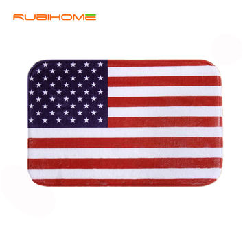 Design American Flag Print Front  Door Mat Floor Carpet Coral Fleece Rug Doormat For Hallway Outdoor Indoor Antiskid Welcome