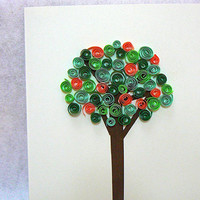 Hand Quilled Paper Art Summer Tree Greeting Card, Card, All Occasion, Hand Made