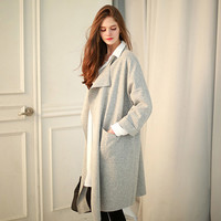 None Button Long-Sleeve Knitted Coat