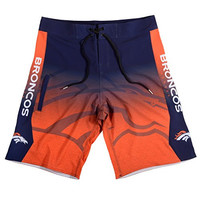 KLEW NFL Denver Broncos Gradient Board Shorts, Large, Blue