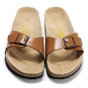 Birkenstock Leather Cork Flats Shoes Women Men Casual Sandals Shoes Soft Footbed Slippers-177